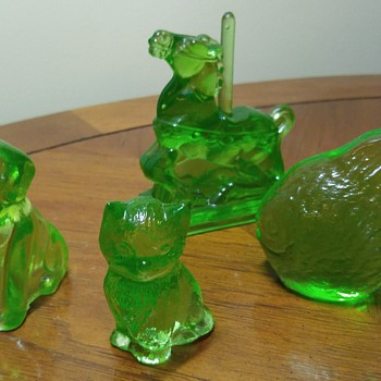 Uranium Glass Animal Figures