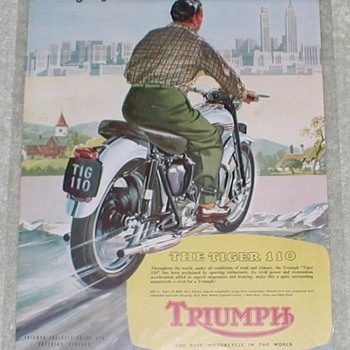 1954 Triumph Tiger Motorcycle Ad - Advertising