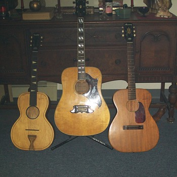 Three 'vintage' guitars; Telleno parlor guitar, Ibanez 693-Dove, and Harmony, Grand concert size, 3478h165