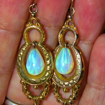 Antique Victorian Opal Hollowware 15k Rose Gold Pendant Earrings - Fine Jewelry