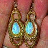 Antique Victorian Opal Hollowware 15k Rose Gold Pendant Earrings
