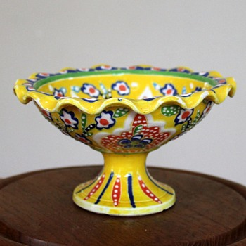 Small compote, hand painted, Huzur Cini, Turkey - Art Pottery