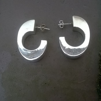 Modernist Sterling Earrings Antique Fair Find $7.50