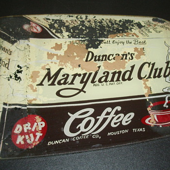 Maryland and Club Coffee Advertising Glass - Signs