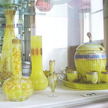 MOSER SPATTER ENAMELED GLASS - Art Glass