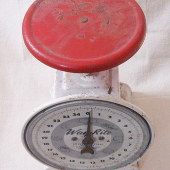 Vintage Metal Way-Rite 25 lbs Kitchen Red Top Scale