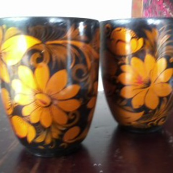 Vintage Russian Khokhloma Hand Painted Cups - Kitchen