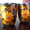 Vintage Russian Khokhloma Hand Painted Cups