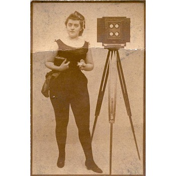 1880s Duke's Mixture Tobacco Card with Woman & 4-Lens Camera