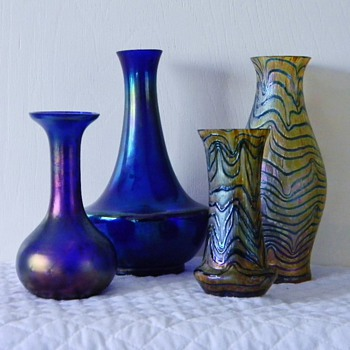 Kralik's In Cobalt Blues Glatt, Mica, Blue on Gold's Vases  - Art Glass