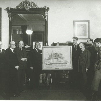 Dorsey Doniphan Presenting the First PWAP Painting Completed in Washington, D.C., to Treasury Officials, 1934 - Photographs