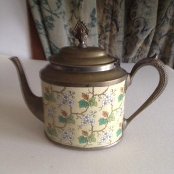 Unusual graniteware teapot.  Unusual shape and pattern.