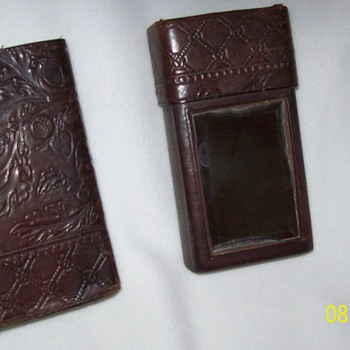 Tooled/Embossed Leather Travel Case with Beveled Mirror