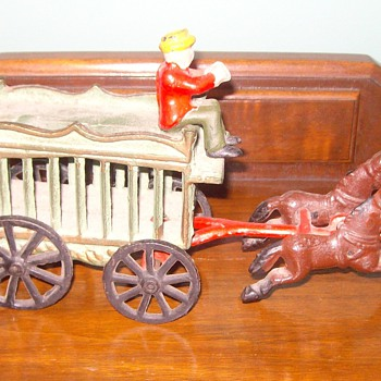 Iron Toy Wagon, horses &amp; driver