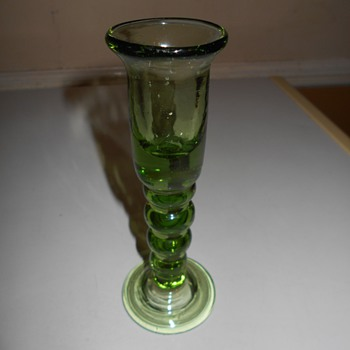 Thick Blown Green Glass Candlestick Help Identify