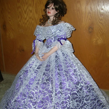 "Porcelain Doll-25"" Tall on Stand"
