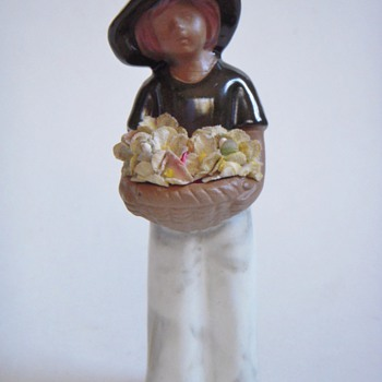 Little Clay Flower Girl w/unidentified Sticker - Art Pottery
