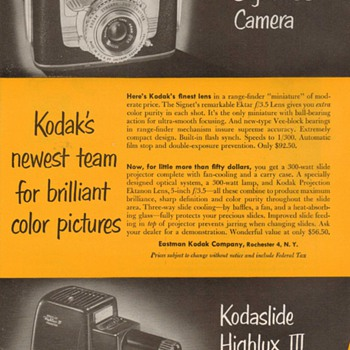 1953 - Kodak Camera & Projector Advertisement - Advertising