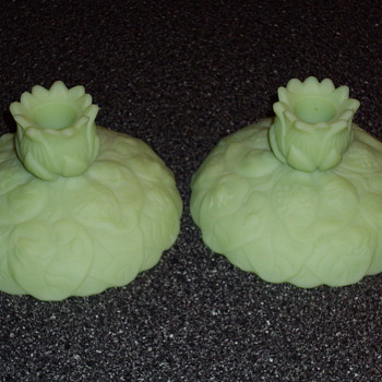 Green satin glass candle holders (Fenton)