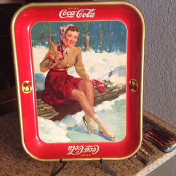 Skater girl coca cola tray