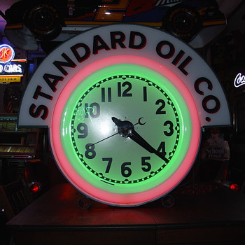 Standard Oil Theme...Electric Neon Clock Company...Two Colors...1950's - Clocks