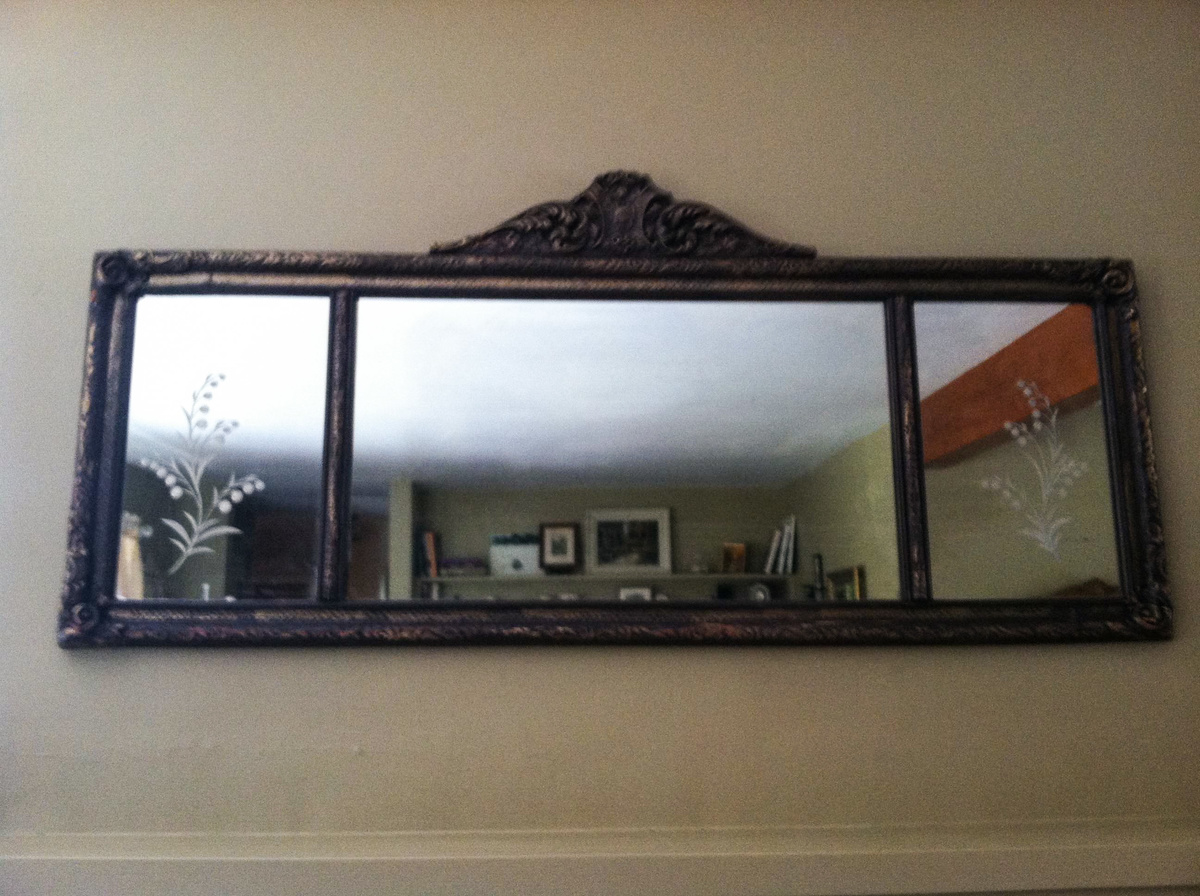 Antique mantel mirror mission accomplished collectors for Fireplace mirrors