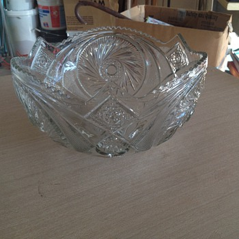 Vintage Lead Glass Punch Bowl UNKNOW MFG. OR CUT - Glassware