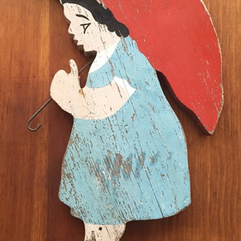 Girl With Red Umbrella - Painted Wood Folk Art