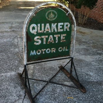 Quaker State Tombstone Sign & Origianl Curb Stand - Before & After Pics - Signs