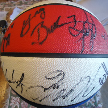 Basketball  $4.00 online auction,  I think 1960's ABA as they used red white and blue basketballs  NEED HELP