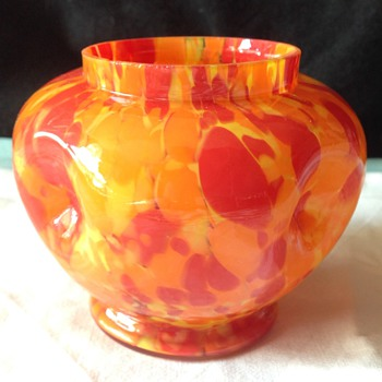 Art Deco Czech Spatter vase. - Art Glass