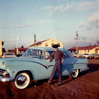 I&#039;m Cool with my Cig at Army barracks and my  55 Ford  - Photographs