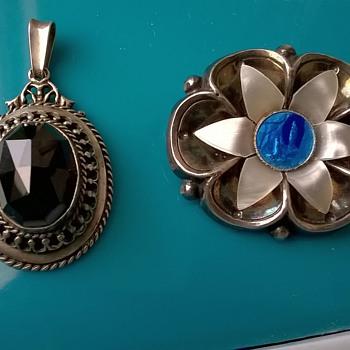 .835 Silver & Garnet Pendant, 1950s & Unusual Silver Plated 1930s Lourdes Brooch