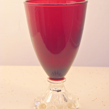"Anchor Hocking ""BOOPIE"" Ruby Red Goblet x3 - Glassware"