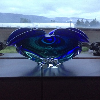 Lovely green and blue glass bowl