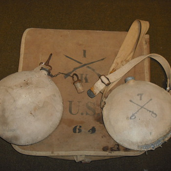 Late 19th/Early 20th Century Canteens and Haversack - Military and Wartime