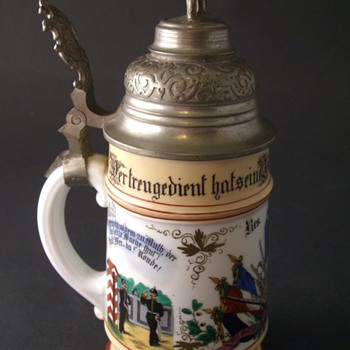 Imperial German beer stein of Reservist Kaiserman  - Breweriana