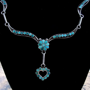 Native American Zuni Channel Inlay Turquoise and Silver Necklace V & L Dishta - Native American