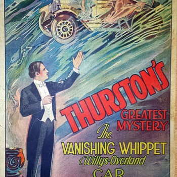 "Original 1929 Thurston ""Whippet"" Stone Lithograph Window Card"