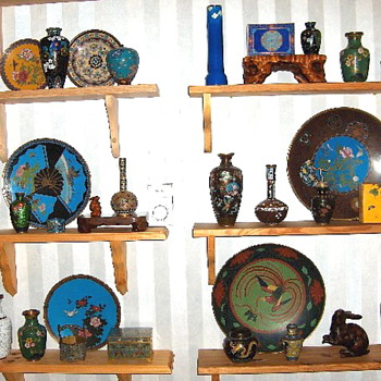 Some of my Asian cloisonne collection displays - Asian
