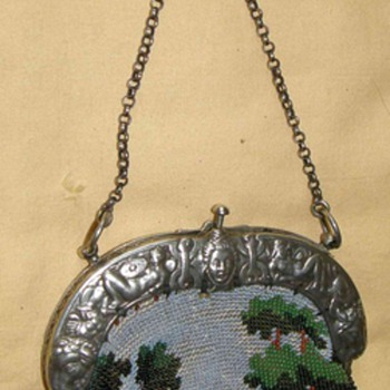 Civil War Time glass beads embroidered Purse