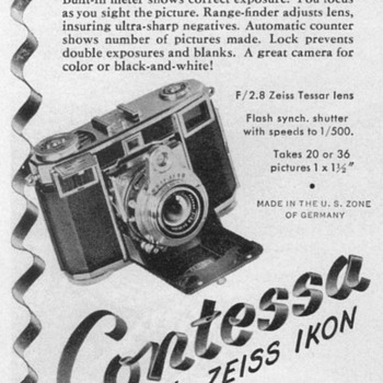 "1952 - Zeiss ""Contessa"" Camera Advertisement - Advertising"
