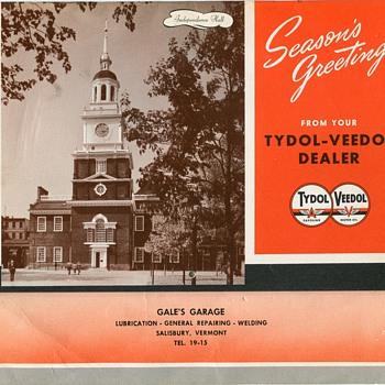 1942 Tydol-Veedol Calendar, Gale's Garage, Salisbury Vermont - Petroliana