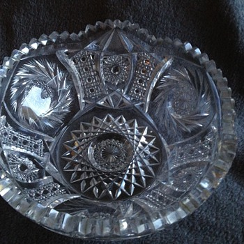 American Brilliant Cut Glass Bowl -Slightly Footed Base