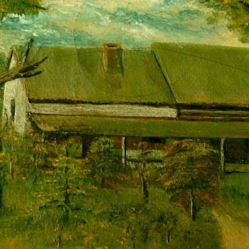 Oil Painting Of A Log House - Visual Art