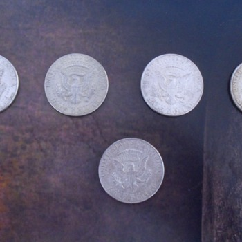 United States of America Half Dollar silver coins.