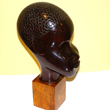 RARE LATE ART DECO LAZSLO HOENIG ROSEWOOD CARVED BUST  - Visual Art