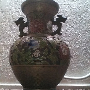 Japanese brass vase with mosaic inlay