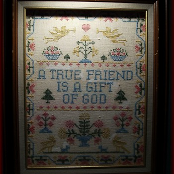 Embroidery Sampler Picture .... ( in a Sense )  - Folk Art