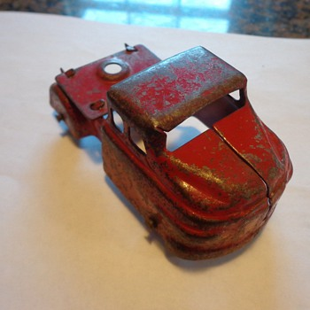 Marx Pressed Steel Red Truck Rubber Wheels, Toy Car